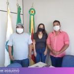 Visita do Presidente do Complexo Centro Cultural Kaigang e Guarani, Jairo de Paula, e do artesão indígena, Modesto Campos Novos.