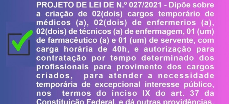 Projeto de Lei Municipal 027/2021