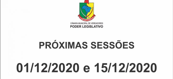 Próximas Sessões 01/12/2020 e 15/12/2020