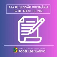 Ata da Sessão Ordinária nº 009/2021 - 20/04/2021