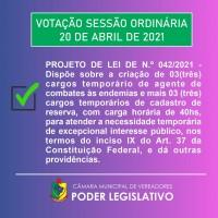 Projeto de Lei Municipal 42/2021