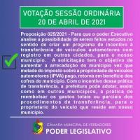 Proposição nº 25/2021 da CMV de Planalto/RS